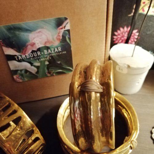 Bracelet jonc en bronze plaqué or